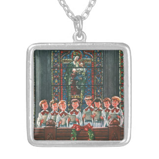 Vintage Christmas Choir in Church Children Singing Personalized Necklace