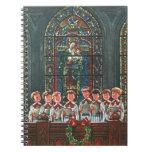 Vintage Christmas Choir in Church Children Singing Note Books