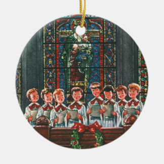 Vintage Christmas Choir in Church Children Singing Christmas Ornaments