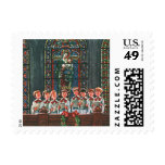 Vintage Christmas Choir in Church Children Singing Postage Stamp