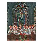 Vintage Christmas Choir in Church Children Singing Postcards
