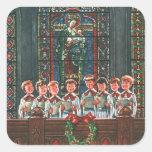 Vintage Christmas Choir in Church Children Singing Square Sticker