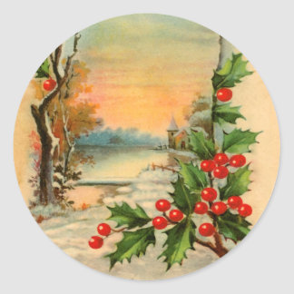 Vintage Christmas Church and Holly Stickers