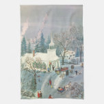 Vintage Christmas, Church Goers in Winter Snow Day Hand Towels