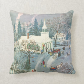 Vintage Christmas, Church Goers in Winter Snow Day Pillows