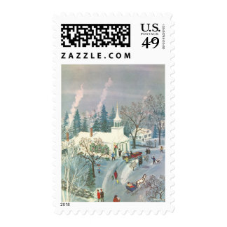 Vintage Christmas, Church Goers in Winter Snow Day Postage Stamp