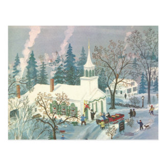 Vintage Christmas, Church Goers in Winter Snow Day Postcard