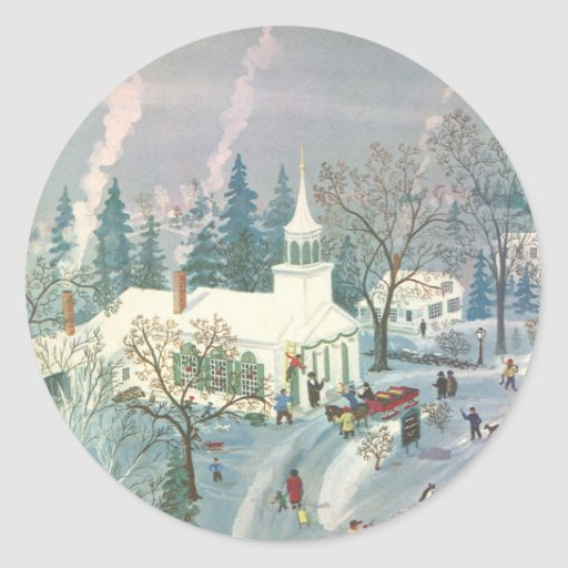 Vintage Christmas, Church Goers in Winter Snow Day Round Stickers
