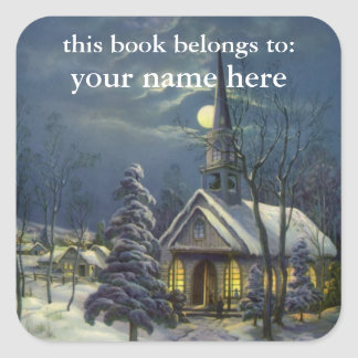 Vintage Christmas Church in Moonlight Bookplate Square Stickers