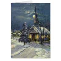 Vintage Christmas, Church in Moonlight Snow Winter Greeting Card