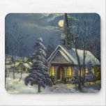 Vintage Christmas, Church in Moonlight Snow Winter Mouse Pads