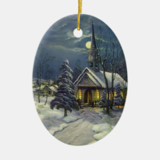 Vintage Christmas, Church in Moonlight Snow Winter Christmas Tree Ornament