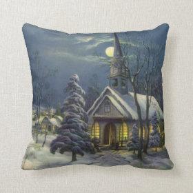 Vintage Christmas, Church in Moonlight Snow Winter Pillow
