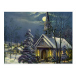 Vintage Christmas, Church in Moonlight Snow Winter Post Cards