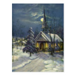Vintage Christmas, Church in Moonlight Snow Winter Postcard