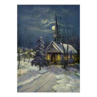 Vintage Christmas, Church in Moonlight Snow Winter Poster