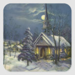 Vintage Christmas, Church in Moonlight Snow Winter Square Stickers