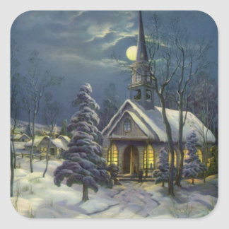 Vintage Christmas Church in Moonlight Snow Winter Square Stickers