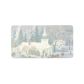 Vintage Christmas Church in Snow with People Address Label