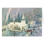 Vintage Christmas Church in Snow with People Card