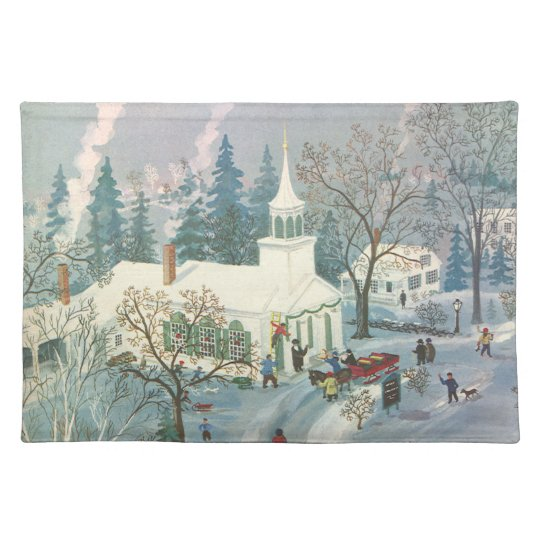 Vintage Christmas Church in Snow with People Cloth Placemat