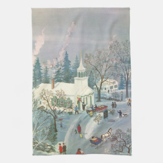 Vintage Christmas Church in Snow with People Kitchen Towel