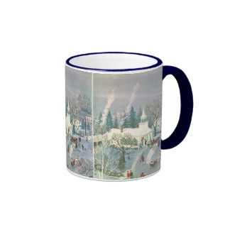 Vintage Christmas Church in Snow with People Ringer Coffee Mug