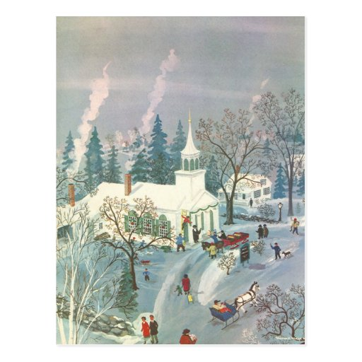 Vintage Christmas Church in Snow with People Postcard