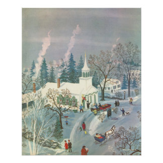 Vintage Christmas Church in Snow with People Poster