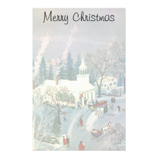 Vintage Christmas Church in Snow with People Stationery