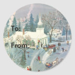 Vintage Christmas Church in Snow with People Classic Round Sticker