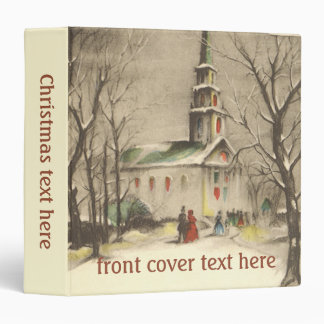Vintage Christmas, Church in Winter Snowscape 3 Ring Binder