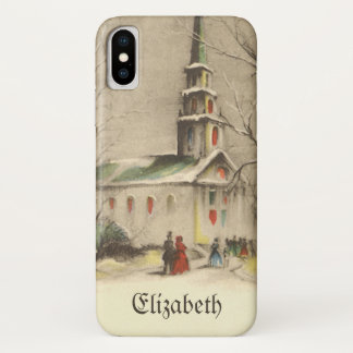 Vintage Christmas, Church in Winter Snowscape iPhone X Case
