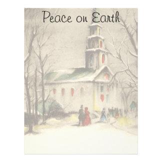 Vintage Christmas, Church in Winter Snowscape Letterhead