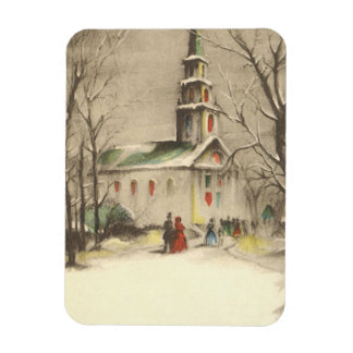 Vintage Christmas, Church in Winter Snowscape Magnet