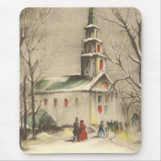 Vintage Christmas, Church in Winter Snowscape Mouse Pad