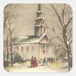 Vintage Christmas, Church in Winter Snowscape Square Sticker
