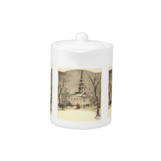 Vintage Christmas, Church in Winter Snowscape Teapot