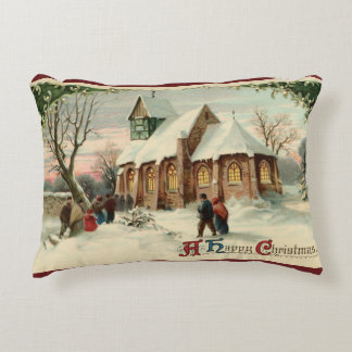 Vintage Christmas Church Parishioners at Dawn Mass Decorative Pillow