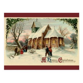 Vintage Christmas Church Parishioners at Dawn Mass Postcard
