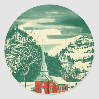 Vintage Christmas Church, Snowscape in Winter Classic Round Sticker