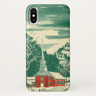 Vintage Christmas Church, Snowscape in Winter iPhone X Case