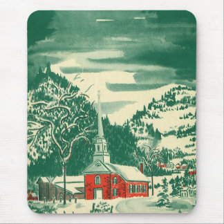 Vintage Christmas Church, Snowscape in Winter Mouse Pad