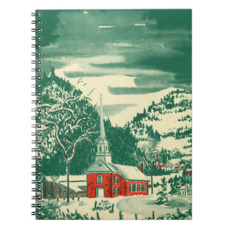 Vintage Christmas Church, Snowscape in Winter Notebook
