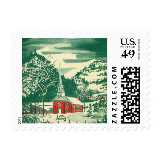 Vintage Christmas Church, Snowscape in Winter Postage