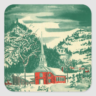 Vintage Christmas Church, Snowscape in Winter Square Sticker