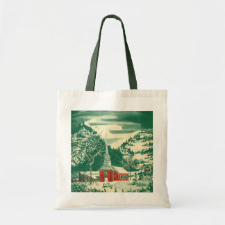 Vintage Christmas Church, Snowscape in Winter Tote Bag