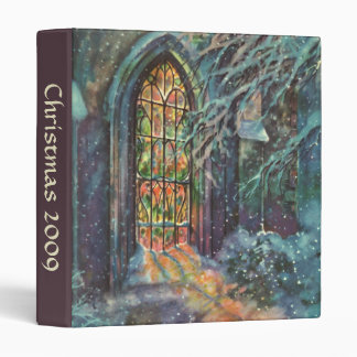 Vintage Christmas Church with Stained Glass Window Binder