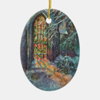 Vintage Christmas Church with Stained Glass Window Ceramic Ornament
