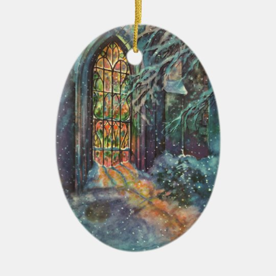 Painting Church In Snow Religious Christmas Ceramic: Vintage Christmas Church With Stained Glass Window Ceramic